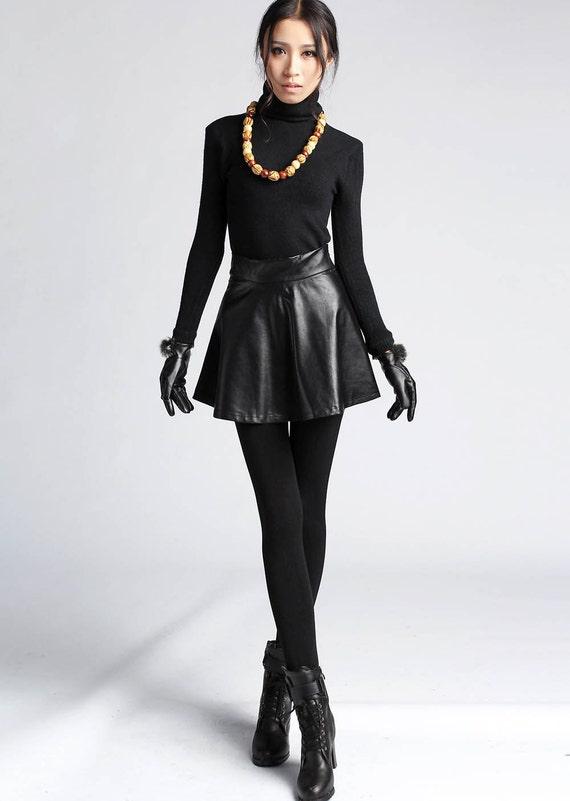Black leather look  mini skirt (411)