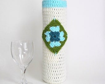 Granny Square Bottle Gift Bag Wine Cozy Champagne Sleeve Housewarming Hostess Cozee Ivory Aqua Olive Green Sack Carrier