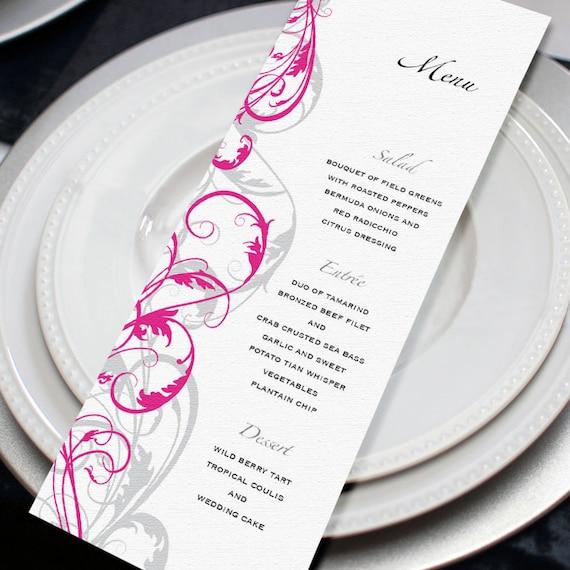 Swirl Menu Card DIY Printable File