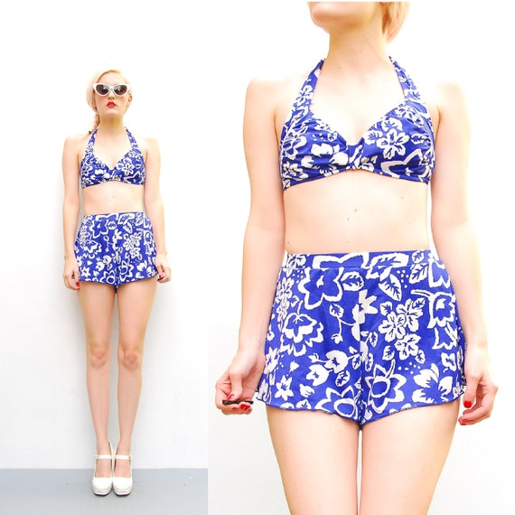 70s Blue Tropical Print Bikini - Hawaiian High Waist Bombshell Two Piece Swimsuit - 1970s Maxine of Hollywood Swim - Skirted Pin Up - S