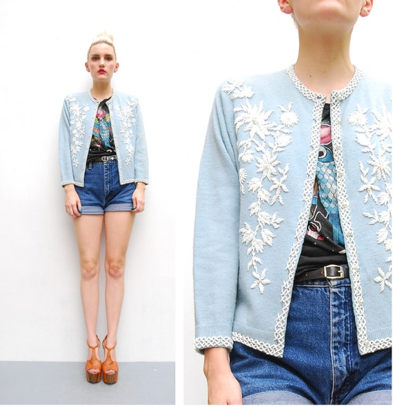 50s 60s Cashmere Sweater - Light Blue Beaded Sweater Cardigan - White Floral Beading - 1950s Lambswool Made in Hong Kong - S