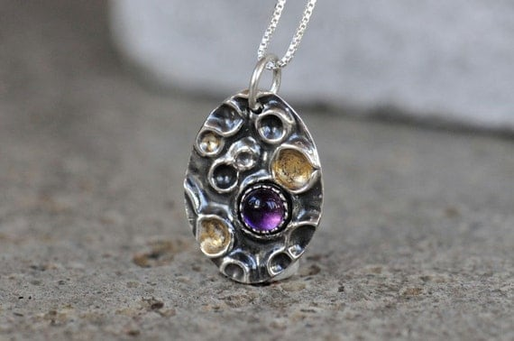 Reserved. Amethyst pendant in silver with gold details. Purple amethyst necklace with 22k gold details. Mud pot pendant.