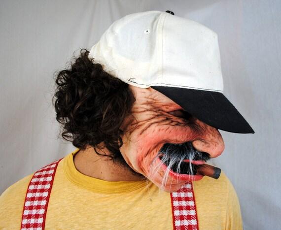 Vintage Scary  Old Man Cigar Halloween Mask