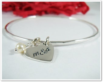 Personalized Silver Bangle with Heart Charm Bracelet Couples Bracelet Mommy Bracelet Bridesmaid Gifts