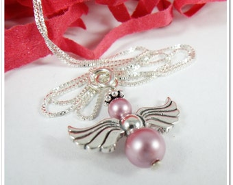 Angel Necklace Sterling Silver and Pearl Guardian Angel My Angel Necklace