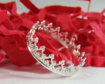 Princess Ring - Sterling Silver Princess Crown Tiara Ring