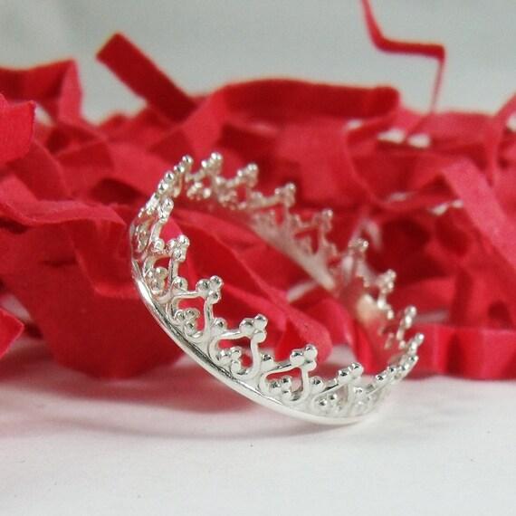 princess ring sterling silver princess crown tiara ring