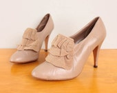 1980s Ruffled Pumps / Nude / Tan Leather & Perforated Ultrasuede High Heel Booties - Womens 8 - Neutral High Heels w/ Ruffles