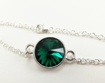 May Birthstone Bracelet Emerald Birthstone Jewelry Crystal Silver Chain Bracelet Green Rivoli