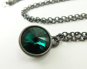 May Birthstone Necklace Emerald Necklace Dark Silver Jewelry Rivoli Emerald Green Jewelry
