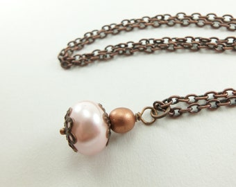 Pink Copper Necklace Pink Beaded Necklace Antiqued Copper Jewelry Pink Pearl Copper
