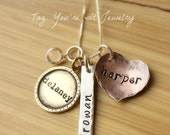 Mixed Metals Name Necklace, Hand Stamped Mothers Necklace, Sterling Silver, Gold Colored Brass, Copper Necklace, Three Kids