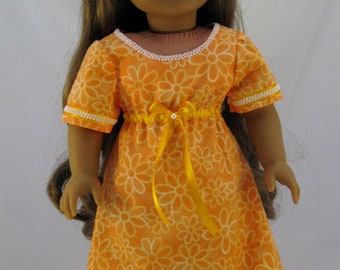 American Girl sized Hawaiian Style Dress With Flower Hair Clip