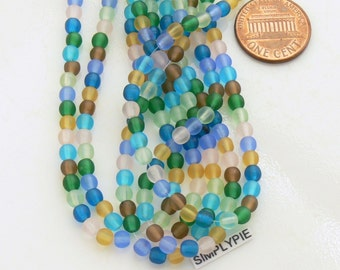 Frosted Mix, Czech Glass Beads, 4mm Assorted Round Druks, 50