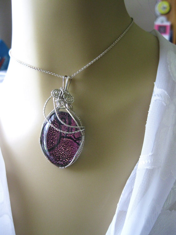 Necklace Pendant Wire Wrapped Handmade Sterling Silver Dichroic Glass