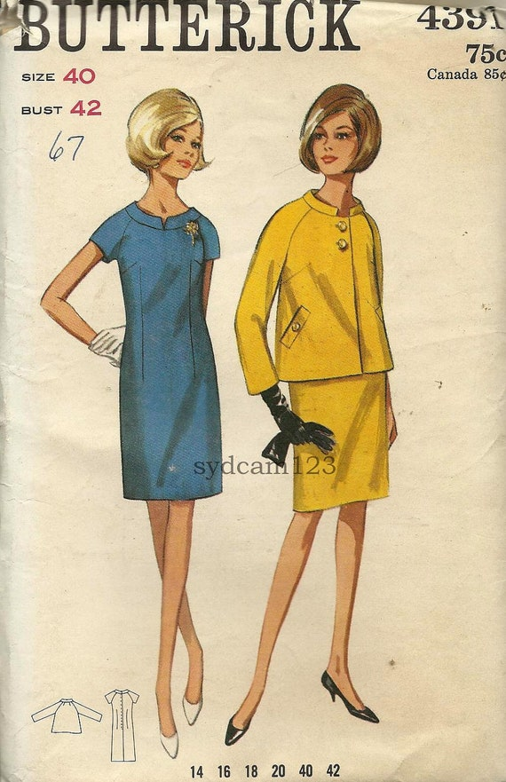 Vintage 1967 Raglan Sleeve Sheath and Stand Up Collar Jacket...Butterick 4391 Bust 42 UNCUT