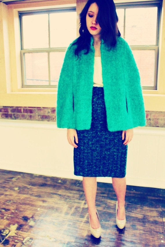60s shaggy turquoise teal  PONCHO