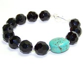 Black Turquoise Bracelet.  Single stone bracelet. Glass bracelet. Inventory Clearance Sale.