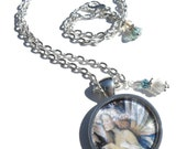 """Fairy in white, with bell flowers, 1"""" pendant necklace"""