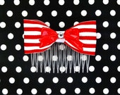 3 Color Choices - Nautical Cutie Bow and Stripes Hair Comb - Red - Retro - 50s - Rockabilly - Pinup