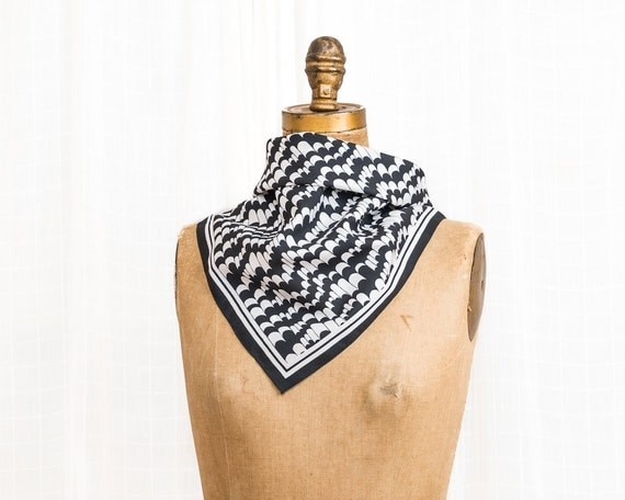 Black and White Marbled Mod Scarf - Vintage 1960s Square Scarf