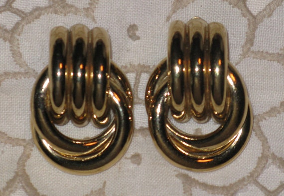 RESERVED for Tina - Givenchy Vintage Gold Tone Doorknocker Clip Earrings  (E-2-4)