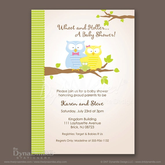 items similar to owl family couples baby shower invitations on etsy