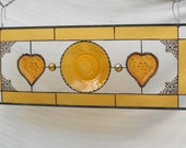 Vintage Stained Glass Plate Panel with Tiara Sandwich Glass Hearts