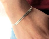 Personalized bar sterling silver chain bracelet, Rock and Roll, Rolling Stones song, custom jewelry