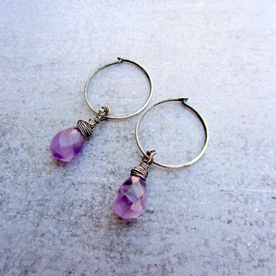 Tiny hoop earrings, Raw amethyst, February birthstone, Sterling silver hoop earrings