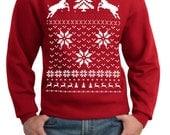 Ugly Christmas sweater -- Reindeer Christmas sweater -- pullover sweatshirt -- s m l xl xxl xxxl