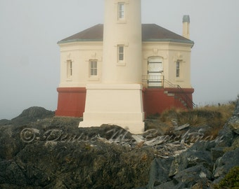 Coquille River Lighthouse in the Fog Photograph - Rustic Beach House Wall Art - Rustic Beach Decor - Foggy Lighthouse Decor - Coastal Art