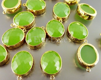 2 peridot opal faceted oval glass cabochon in hammered bezel setting for jewelry making 5074G-PEO (bright gold, peridot opal, 2 pieces)