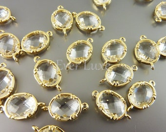 2 Faceted oval round clear glass gold plated bezel links for making jewelry designs, supplies 5041G-CL (bright gold, clear, 2 pieces)