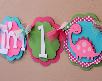 Dinosaur Lime Green, Turquoise, and Hot Pink Light Pink Polka Dot I'm 1 High Chair Banner Highchair Baby Shower Dino Girl Party Decorations