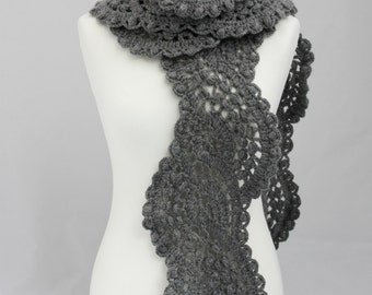 Crocheted long lace scarf in dark grey