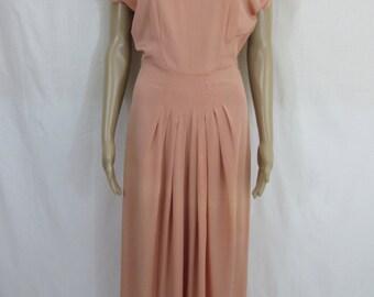 1940s Rose Floor Length Evening Gown Dress