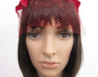 1960s Red Netting Hat with Original Tags