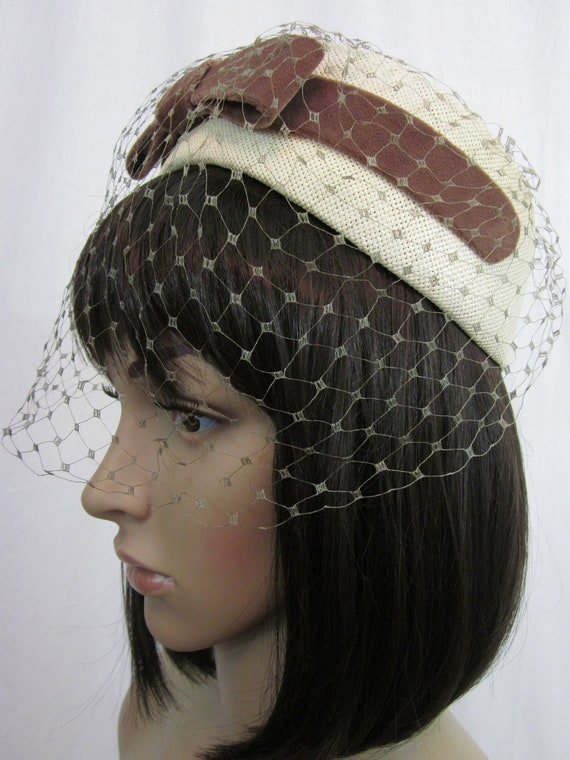 1960s Straw Hat with Bow and Netting