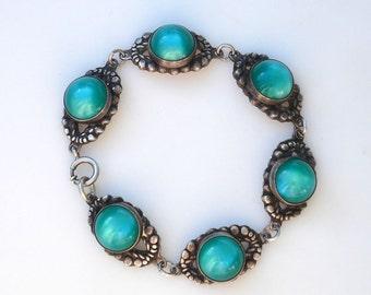Vintage Sterling Silver & Green Lucite Bracelet - 1940s Retro