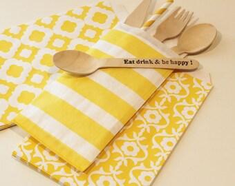 Silverware Bags, 20 Yellow Sailor Stripe Silverware Bags, Silverware Holder, Table Setting, Buffet Paper Bag, Weddings, Favors, Utensil  Bag