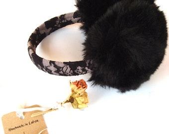 Black lace Ear warmer, elegant earmuffs, winter accessory, gift for women