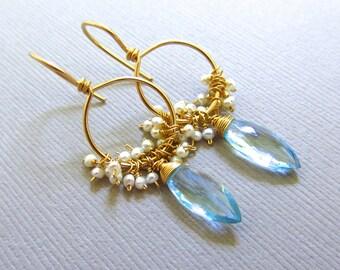 Blue Topaz Earrings, 14k Gold Hoops, White Pearls Wire Wrapped, Marquis Gemstone Earrings, Handmade Bridal Jewelry by Sonja Blume