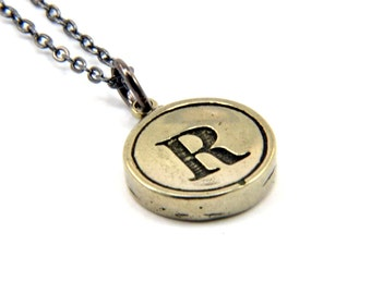 Letter R Charm Necklace - White Bronze Initial Typewriter Key Charm Necklace - Gwen Delicious Jewelry Design