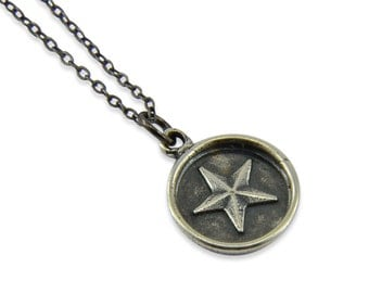 Small Silver Star Pendant, Wax Seal Star Necklace  Gwen Delicious Jewelry Designs