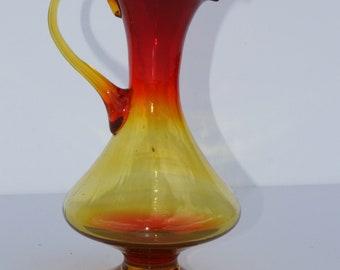 Vintage Mid Century Modern Hand Blown Amberina Tangerine Art Glass Handled Pitcher