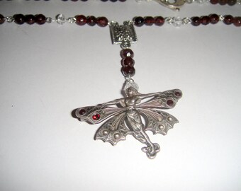 For the Love of Woodland People           (Garnet Fairy Necklace)