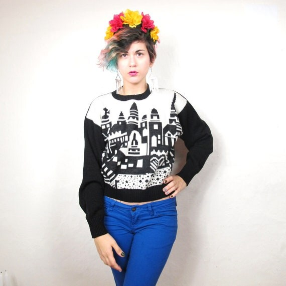 City Skyline Graphic Cropped Sweater (XS/S)