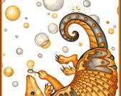Armadillo Blowing Bubbles Greeting Card