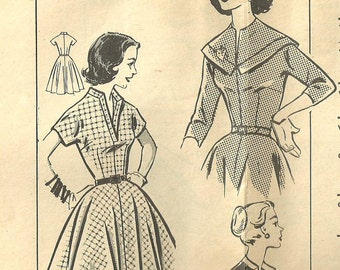 Vintage 50s Mail Order Sewing Pattern from Clotilde // Dress // Size 12